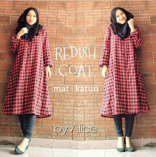 supplier baju hijab : redish coat ori by alice / kemeja tartan merah