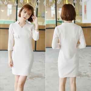 Baju Wanita Korea Apricot 3/4 Sleeved V Neck Collar Dress 21478AT