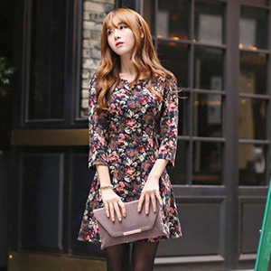 Baju Wanita Korea Import Korean Style 3/4 Sleeved Flower Dress 20598