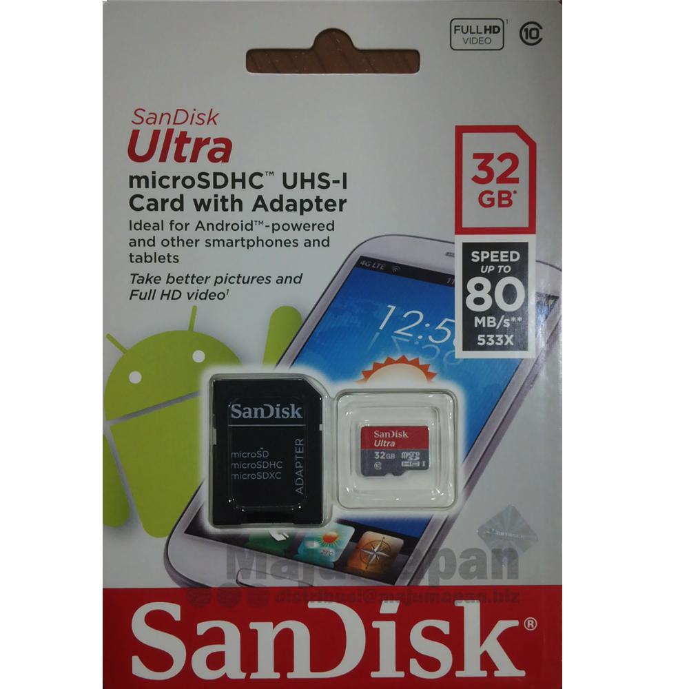 Jual Sandisk Ultra Micro SD SDHC 32 GB Class 10 80MB S