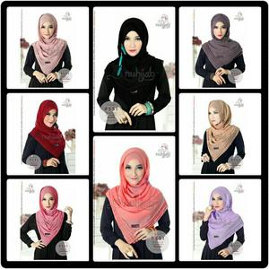 PSSI Waffle/pasmina/hijab/kerudung sifon instan/pastel/cantik NUHIJAB
