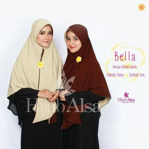 Hijab Syar'i Bergo Semi Instan 2 Lapis 2 Warna Bella Hijab Alsa 06