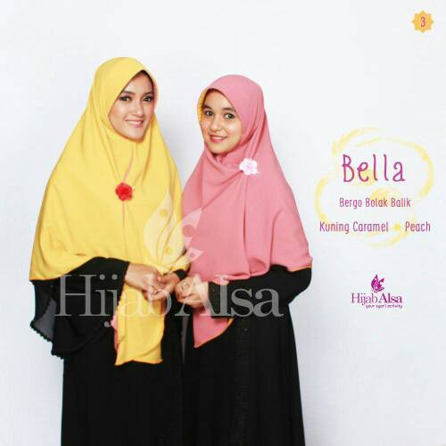 Hijab Syar'i Bergo Semi Instan 2 Lapis 2 Warna Bella Hijab Alsa 03