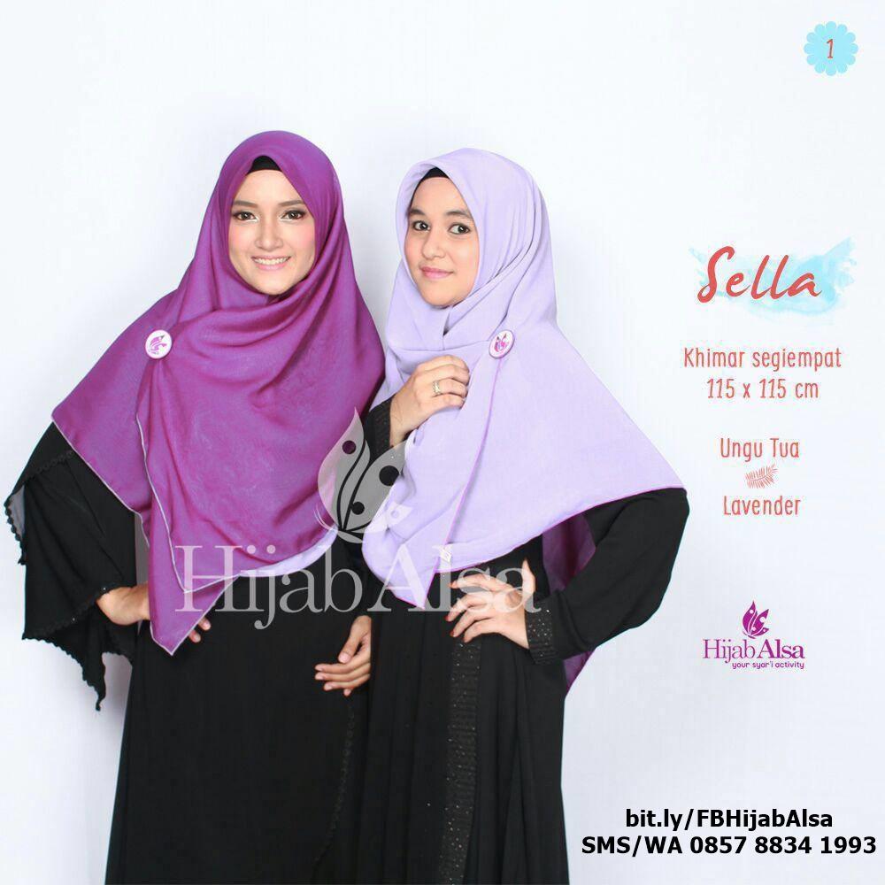 Jilbab Segi Empat Bolak Balik Merk Hijab Alsa 001 Ungu Tua & Lavender