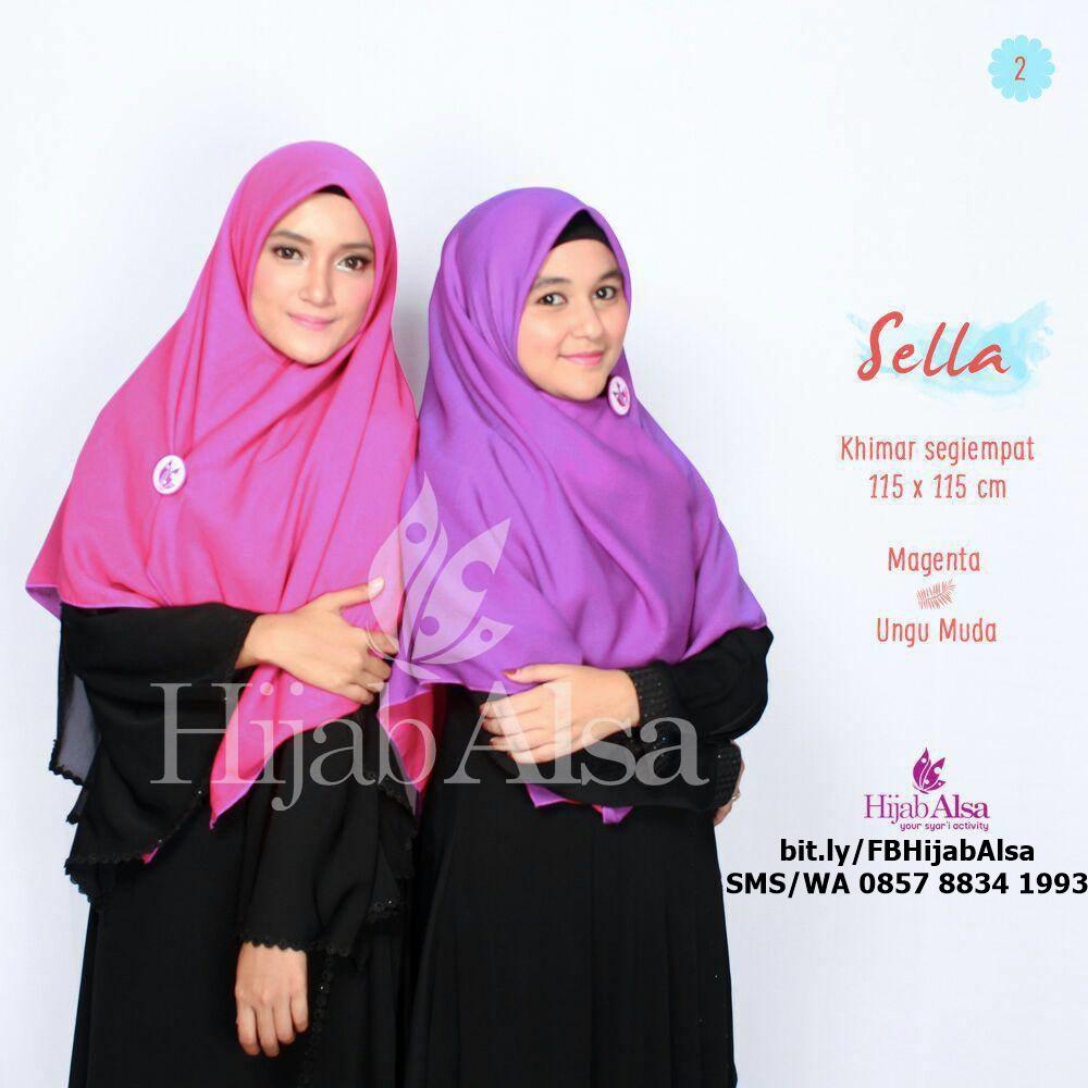 Jilbab Segi Empat Bolak Balik Merk Hijab Alsa 002 Ungu Muda & Magenta