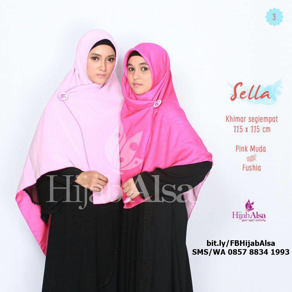 Jilbab Segi Empat Bolak Balik Merk Hijab Alsa 003 Fushia & Pink Muda