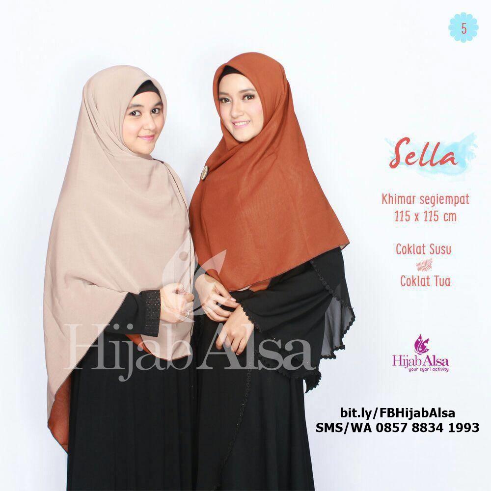 Jilbab Segi Empat Bolak Balik Hijab Alsa 005 Cokelat Tua, Cokelat Susu