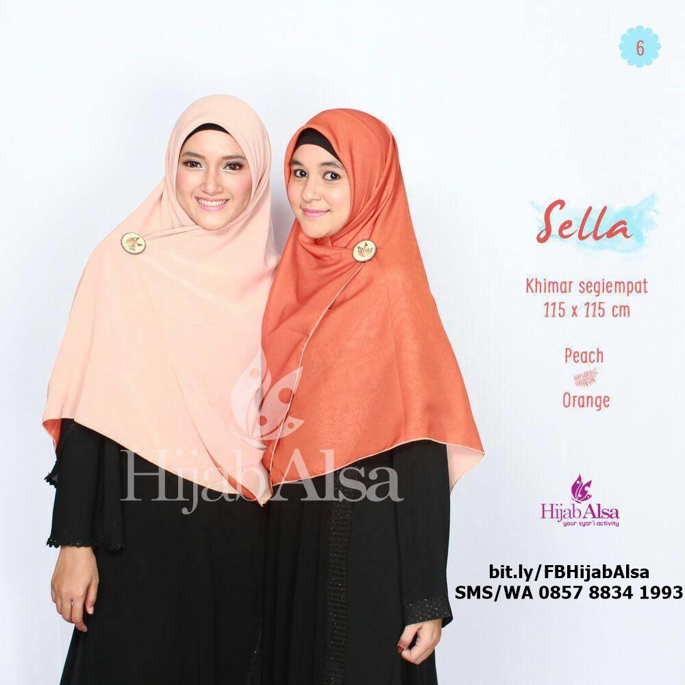 Jilbab Segi Empat Bolak Balik Merk Hijab Alsa 006 Cokelat Muda & Peach