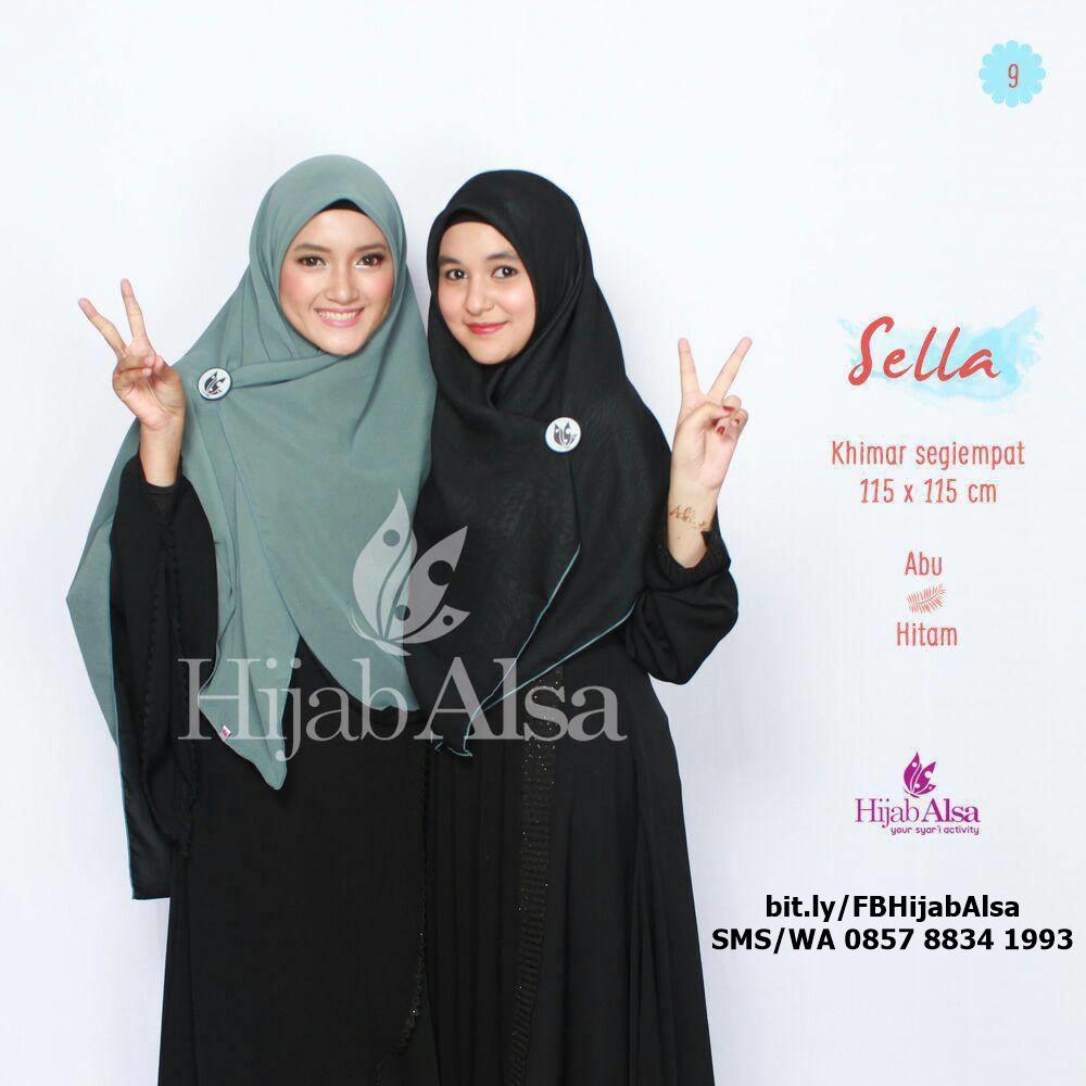 Jilbab Segi Empat Bolak Balik Merk Hijab Alsa 009 Hitam & Abu Tua