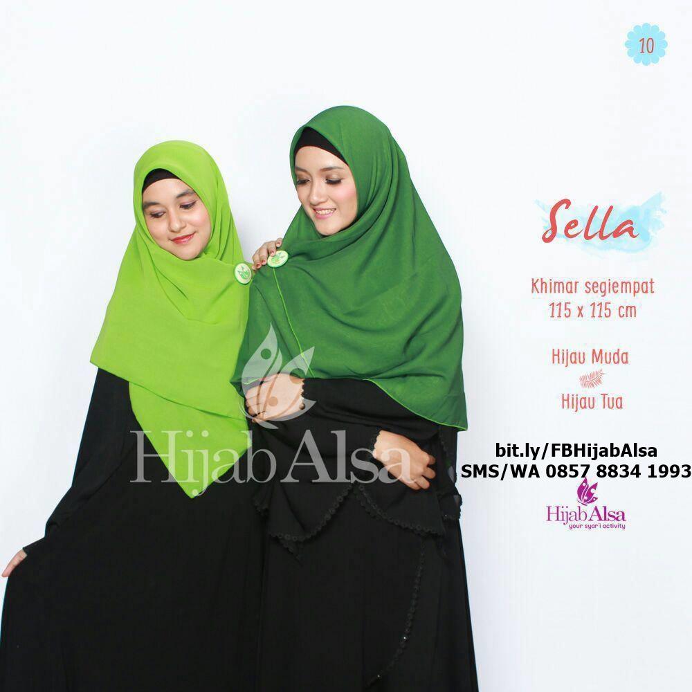 Jilbab Segi Empat Bolak Balik Merk Hijab Alsa 010 Hijau Tua & H. Muda