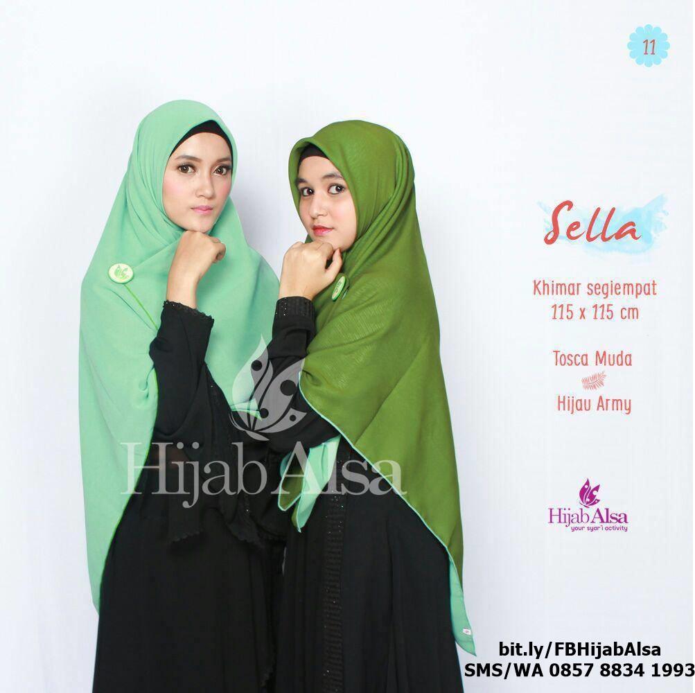 Jilbab Segi Empat Bolak Balik Merk Hijab Alsa 011 Hijau Army & H. Daun