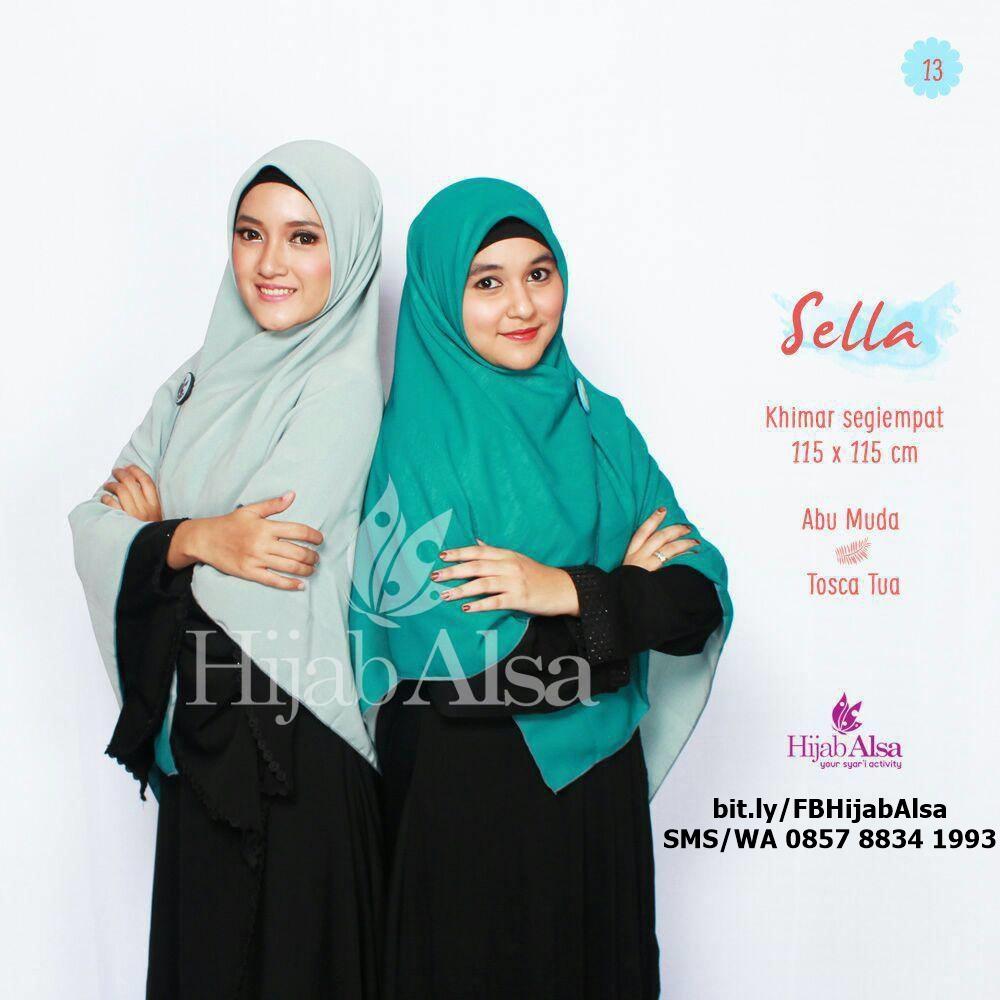 Jilbab Segi Empat Bolak Balik Hijab Alsa 012 Hijau Toska & Abu Toska