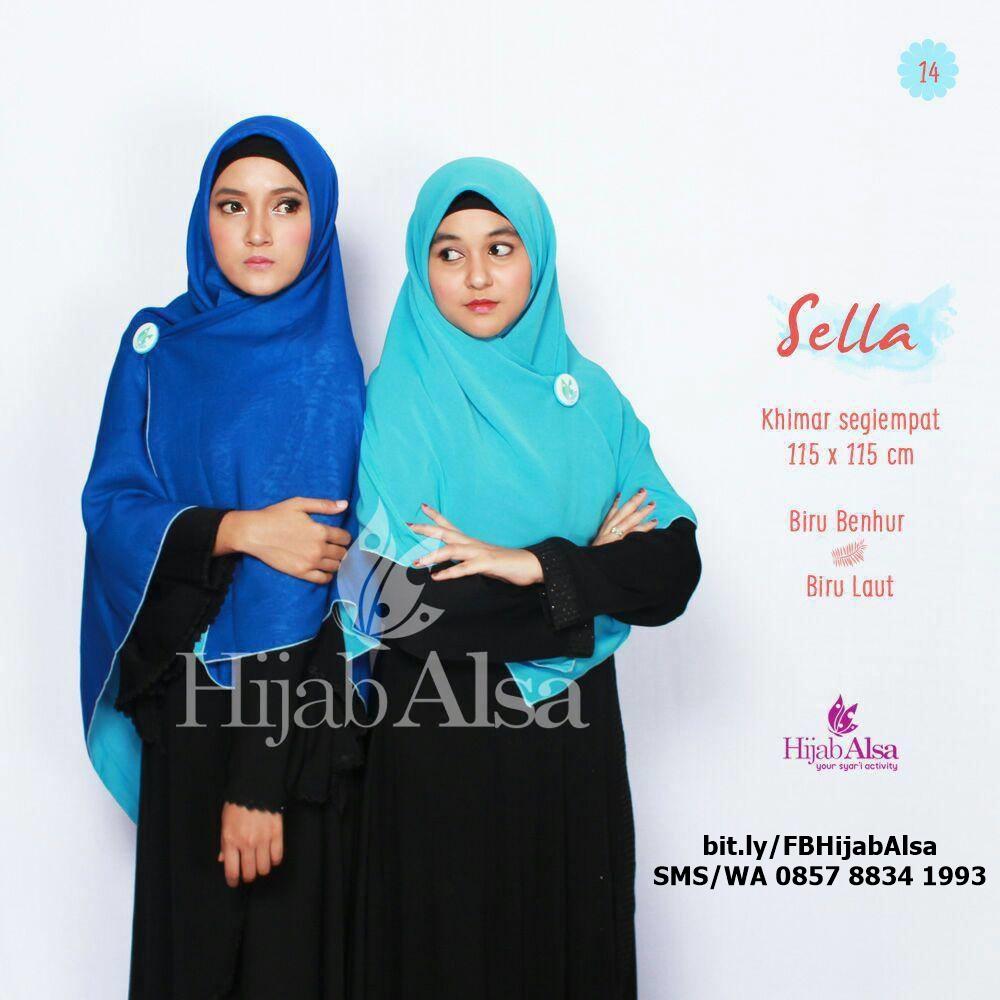 Jilbab Segi Empat Bolak Balik Hijab Alsa 014 Biru Benhur & Biru Laut