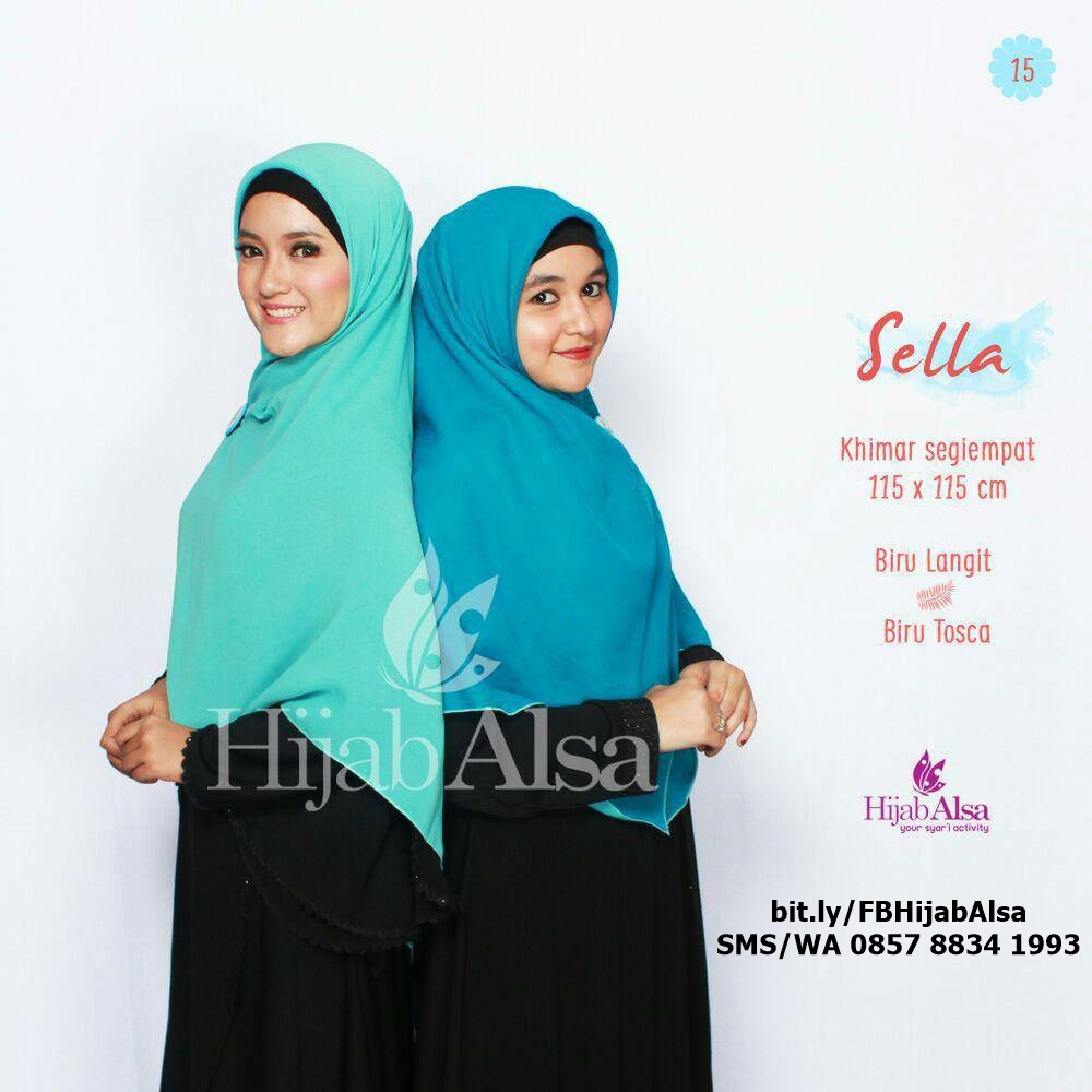 Jilbab Segi Empat Bolak Balik Hijab Alsa 015 Biru Toska & Biru Langit