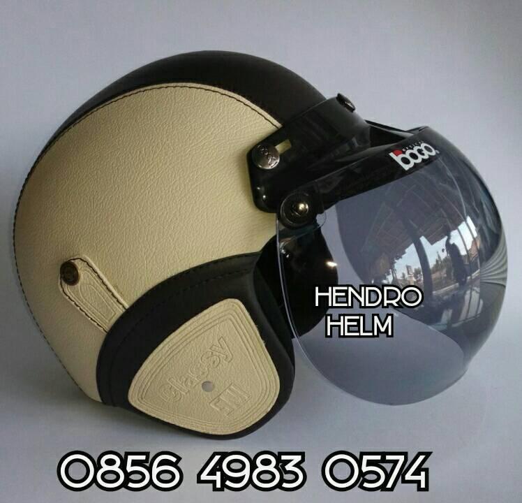 harga helm retro sintetis krem hitam kaca bogo Tokopedia.com
