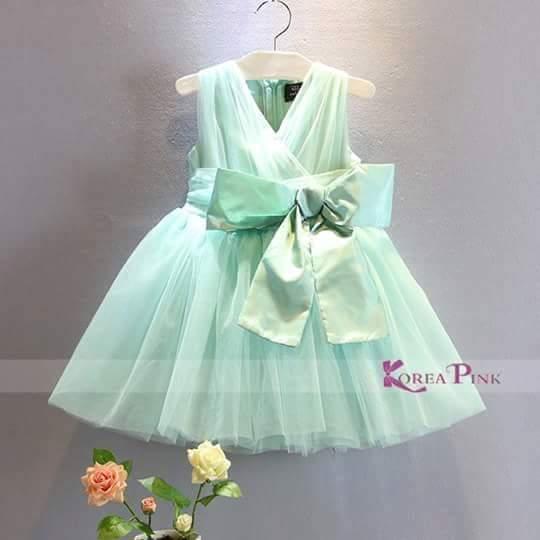 [ Baju Anak Perempuan ] Dress Pesta Anak Hijau Tosca Korea Pink