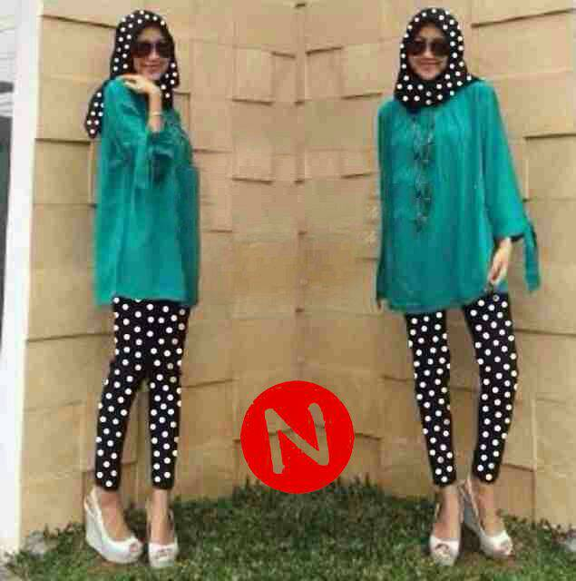 harga 6531-polka stelan hijab/ Grosir/Resseler Pakaian muslimah Tokopedia.com