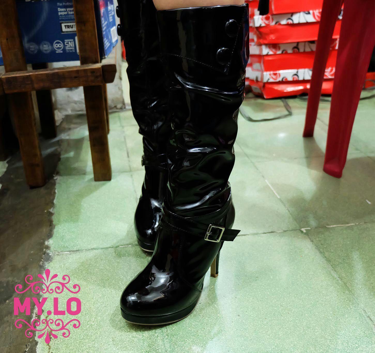 Jual sepatu boot korea wanita hitam beludru import heels fashion Source · SEPATU  BOOT HEEL WANITA 8f77180fbe