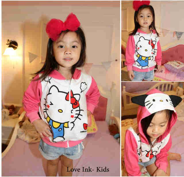 JKKD78 - Jaket Anak Hello Kitty Pink White Moody