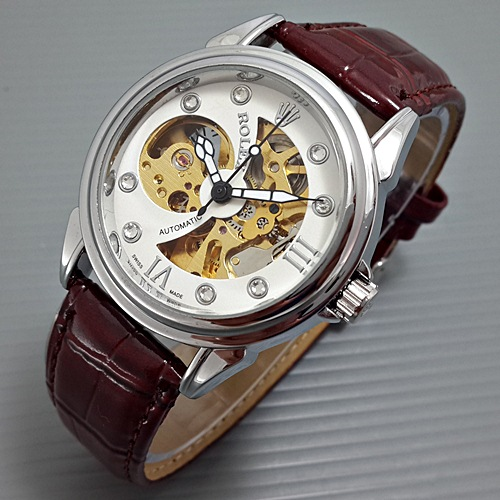 harga Rolex Skeleton Pacman Leather Brown Tokopedia.com