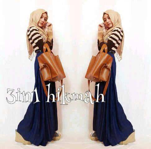 Maxi blouse hijab spandek hikmah (navy) M