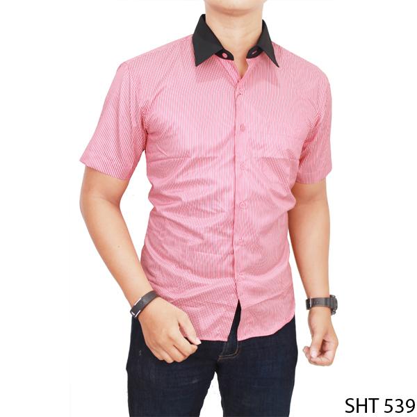 Jual Model Baju Kemeja Pria Lengan Pendek Katun Merah Muda