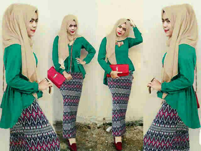 Hijab Peplum Tribal Toska Set 3in1