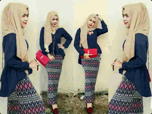 Hijab Peplum Tribal Navy Set 3in1