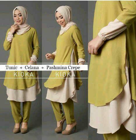 Hijab Kioka Set 3in1 Hijau ( Tunik + Celana + Pashmina )