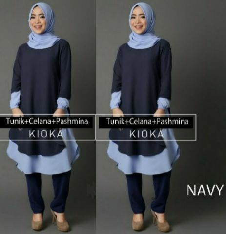Hijab Kioka Set 3in1 Navy ( Tunik + Celana + Pashmina )