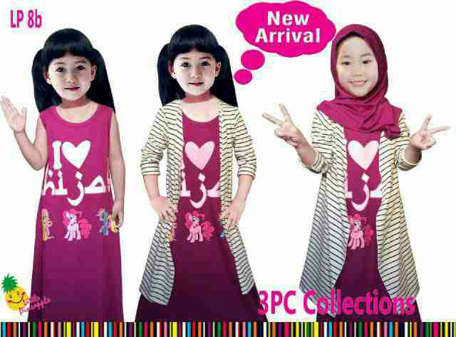 gamis cardigan hijab / baju muslim anak 3in1 ungu little pineapple