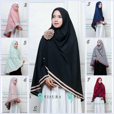hijab jilbab kerudung syar'i KHIMAR FISURA 2 line