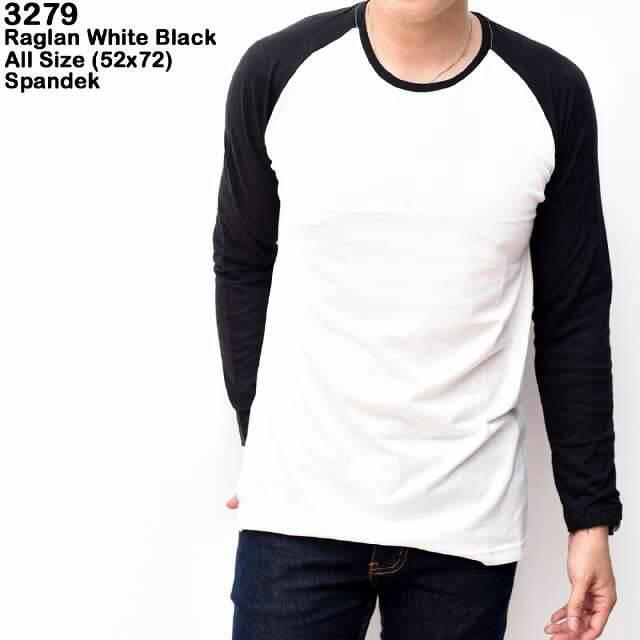 Jual Long Sleeve Kaos Lengan Panjang Distro Putih Polos Hitam