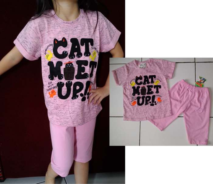 STKD222 - Setelan Anak Pink Cat Met Up Murah