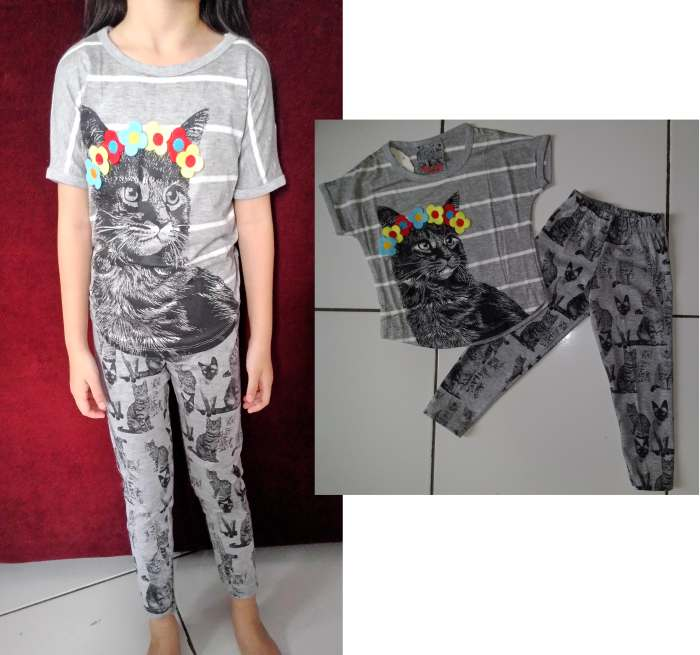 STKD221 - Setelan Anak Grey Cat Flower Murah