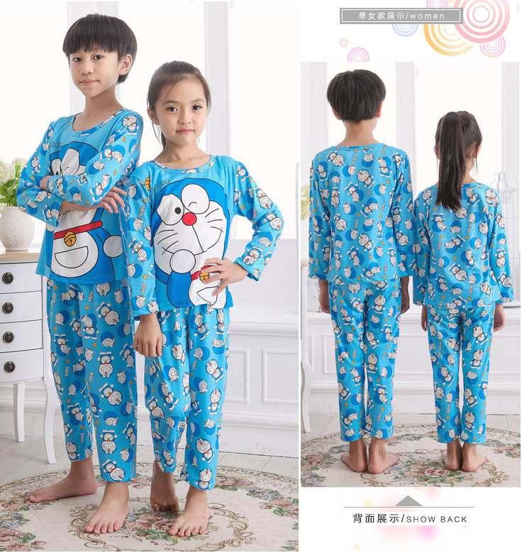 STKDDR27 - Setelan Anak Doraemon Smile Blue Full Print