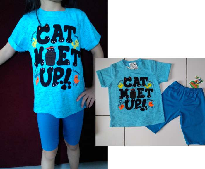 STKD223 - Setelan Anak Blue Cat Met Up Murah