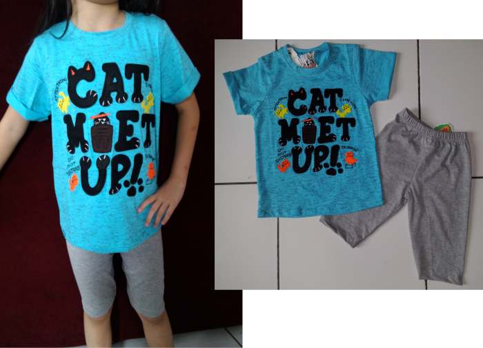 STKD224 - Setelan Anak Blue Grey Cat Met Up Murah