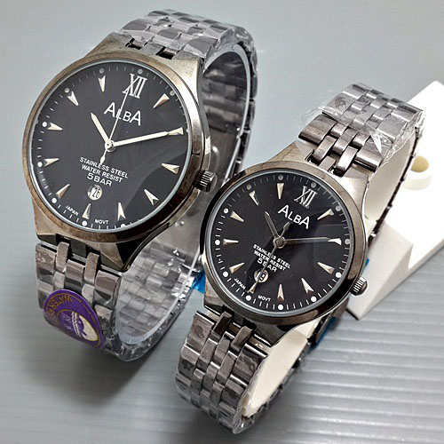 Jam Tangan Couple Alba Date Rantai Full Black