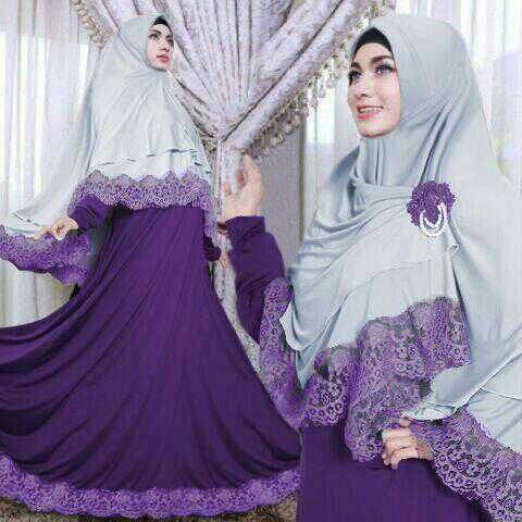 Kimora purple hijab syari set 2in1