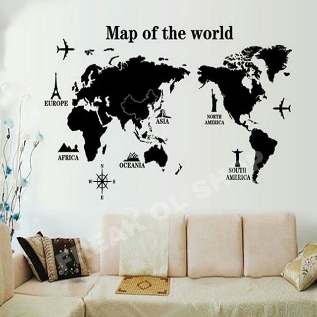 jual peta dunia hitam wall sticker wall stiker world map big size dekorasi freak ol shop. Black Bedroom Furniture Sets. Home Design Ideas