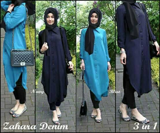 Hijab Zahara Denim Set 3in1