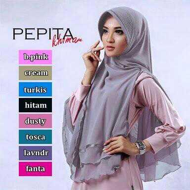 Khimar Pepita Bahan ceruty sifon,do /kerudung/jilbab/syria/hijab