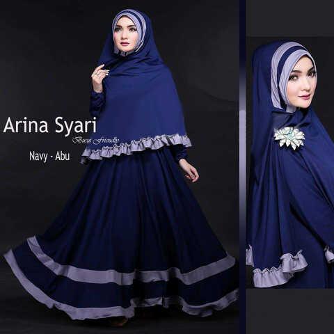 Gamis Syari Cantik Arina Navy Abu (syari,murah,terlaris)
