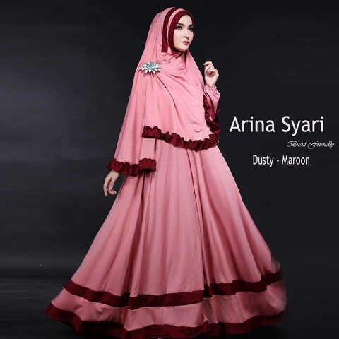 Gamis Syari Cantik Arina Dusty Maroon (syari,murah,terlaris)