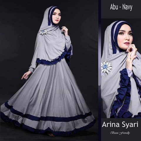 Gamis Syari Cantik Arina Abu Navy (Terbaru Murah Modern Cantik)