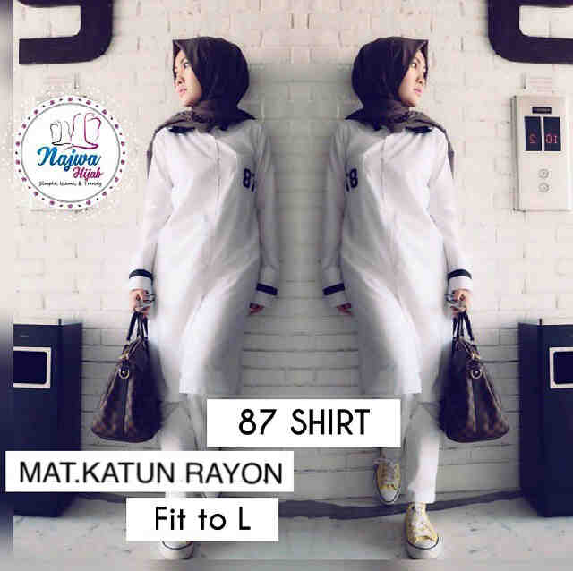 blouse 87 shirt white mat.katun rayon fit /hijab/top/tunik/bluse