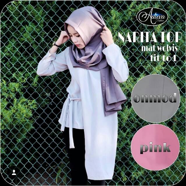 narita top / blouse cewek bahan wolvis / atasan terndy hijab