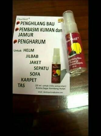 Parfume Penghilang Bau Helm, Jaket, Hijab, Sepatu, dll Bahan Deo Aktif