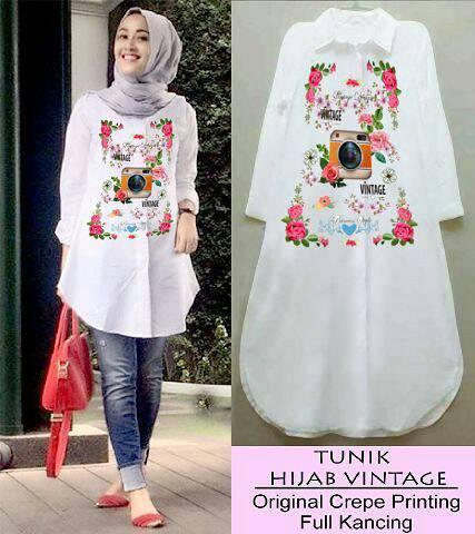 Tunik kemeja Hijab Vintage